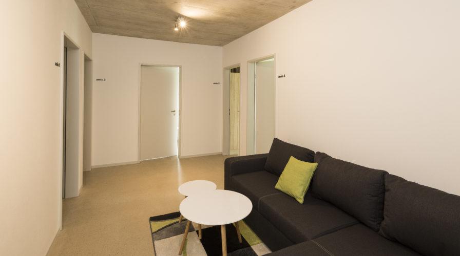 Gemeinschaftsraum und Gästezimmer